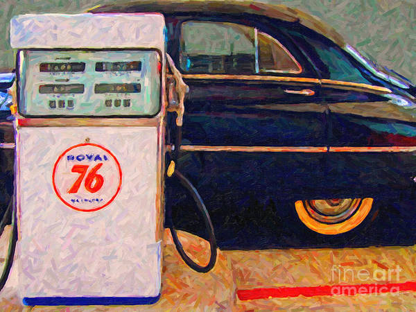 Photograph - Fill Her Up At The Old Royal 76 Gas Station by Wingsdomain Art and Photography