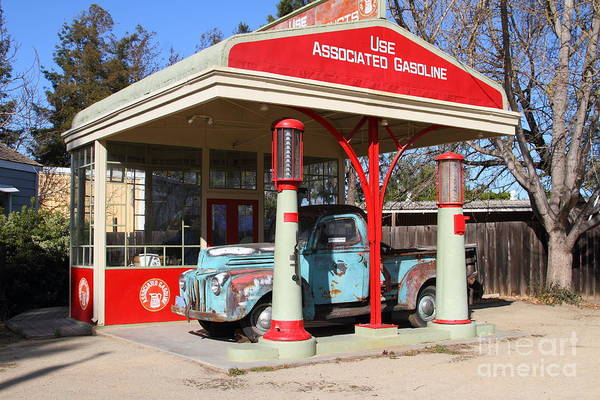 Photograph - Filling Up The Old Ford Jalopy At The Associated Gasoline Station . Nostalgia . 7d12897 by Wingsdomain Art and Photography