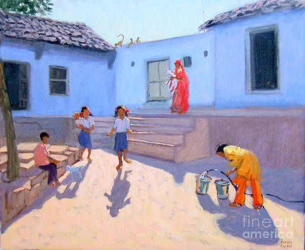 India Painting - Filling Water Buckets by Andrew Macara