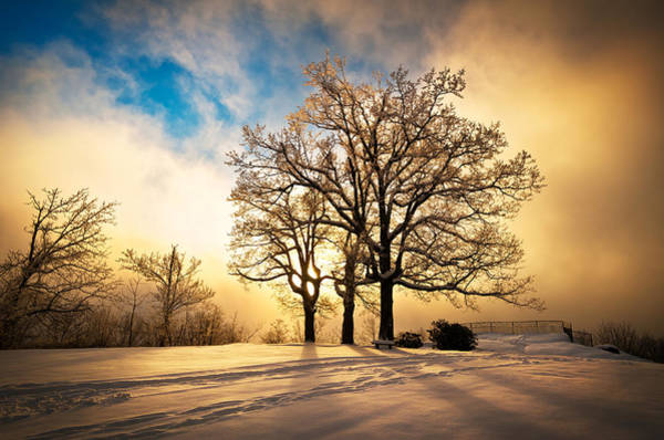 Freezing Photograph - Fire And Ice - Winter Sunset Landscape by Dave Allen