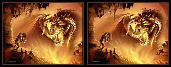 Stereoscopy Digital Art - Fire Dragon - Gently Cross Your Eyes And Focus On The Middle Image by Brian Wallace
