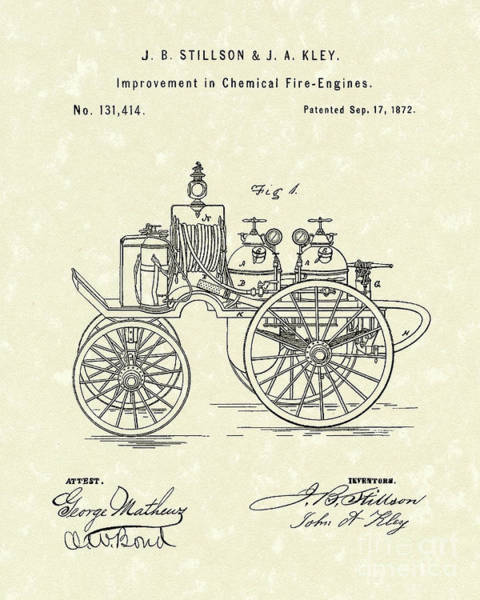 Cart Drawing - Fire Engine 1862 Patent Art by Prior Art Design