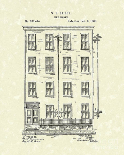 Drawing - Fire Escape 1886 Patent Art by Prior Art Design