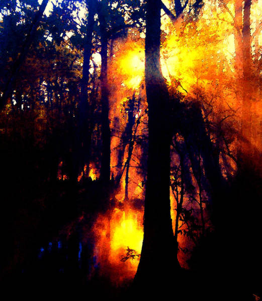 Wall Art - Painting - Fire In The Morning by David Lee Thompson