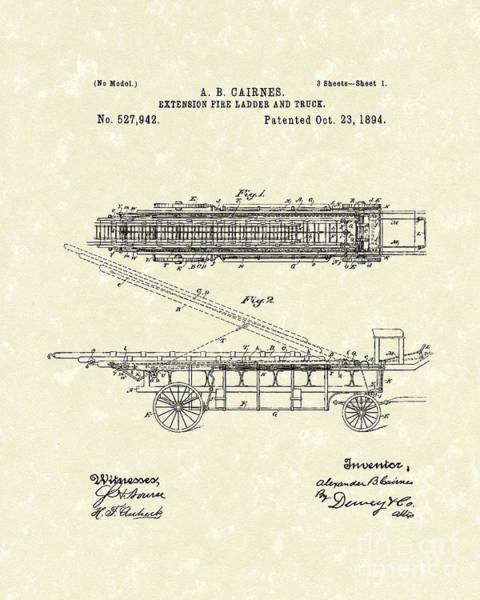 Drawing - Fire Ladder Extension 1894 Patent Art by Prior Art Design