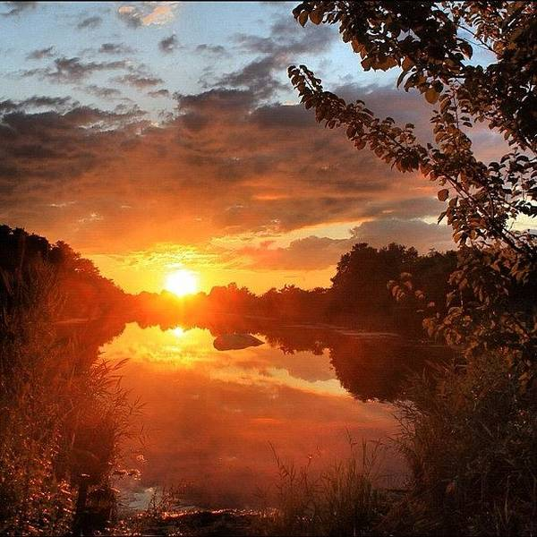 Wall Art - Photograph - Fire Like Sunset At The River #sky #sun by Lisa Thomas