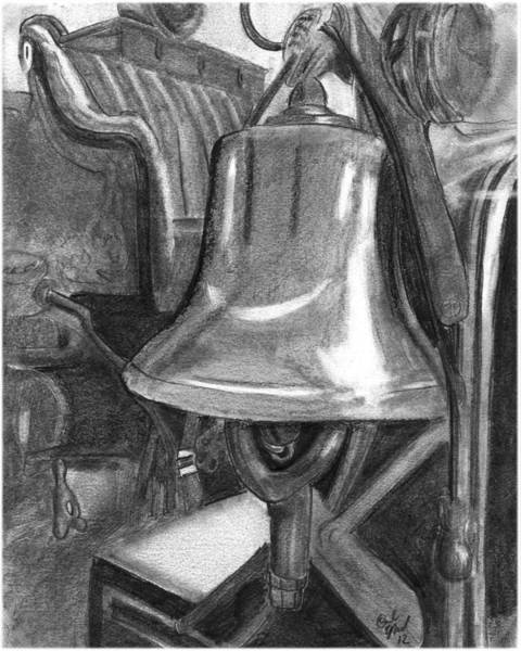 Old Fire Truck Drawing - Fire Truck Bell by Carl Muller