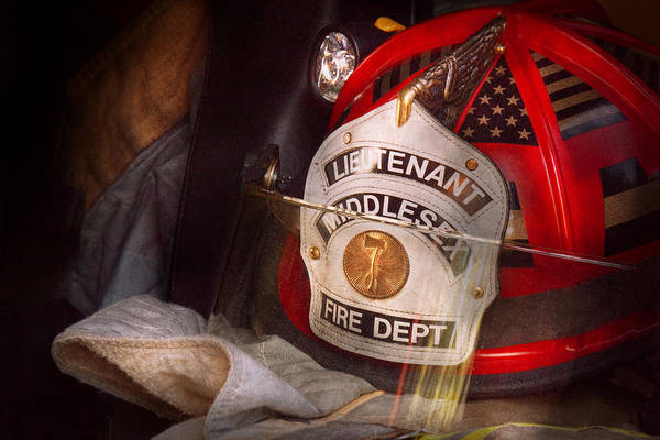 Photograph - Fireman - Hat - The Lieutenants Cap  by Mike Savad