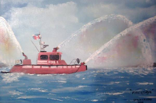Fireboat Wall Art - Painting - Firestorm 30 by Campbell Dickison