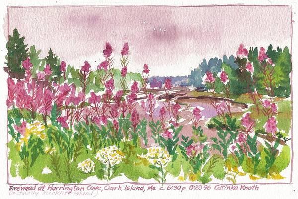 Painting - Fireweed Harrington Cove Rackliff Island Maine by Catinka Knoth