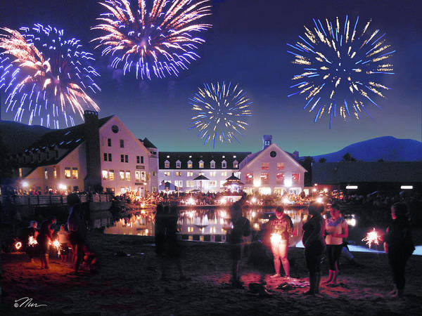 Photograph - Fireworks In Waterville Valley by Nancy Griswold