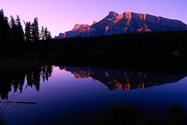 Wall Art - Photograph - First Light On Mount Rundle by Larry Ricker