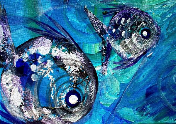 Painting - Fish Print 2 by J Vincent Scarpace