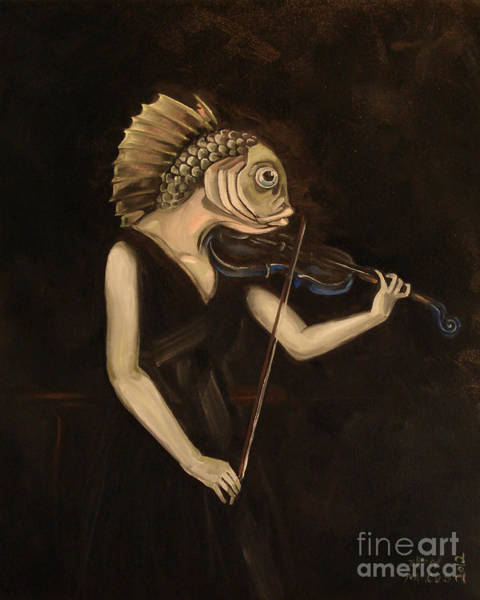Violin Wall Art - Painting - Fish With Violin by Ellen Marcus