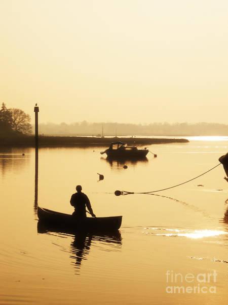 Lake Sunset Photograph - Fisherman On Lake by Pixel Chimp
