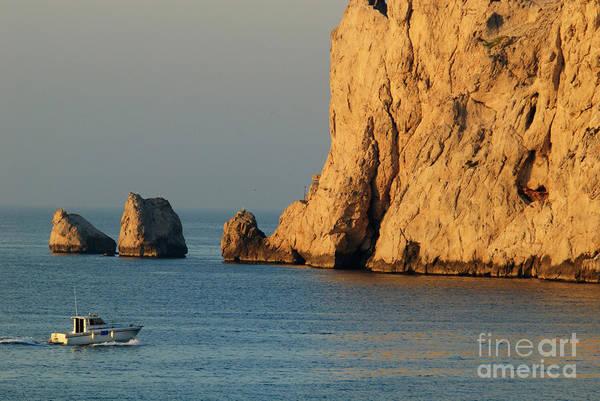 Wall Art - Photograph - Fishing Boat Near Maire Island At Sunrise by Sami Sarkis