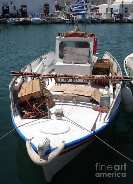 Taverna Photograph - Fishing Boat With Octopus Drying by Jane Rix