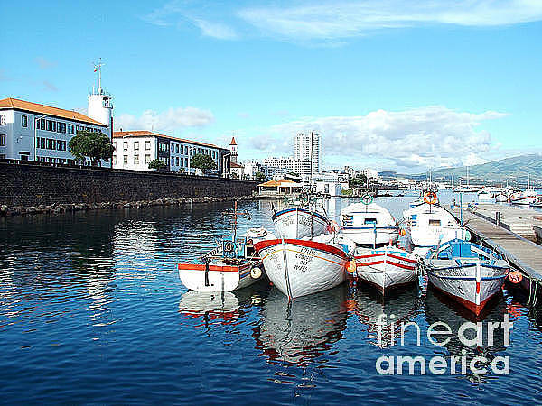 Acores Photograph - Fishing Boats In The Bay by Gaspar Avila
