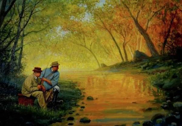 Painting - Fishing Buddies by Mel Greifinger