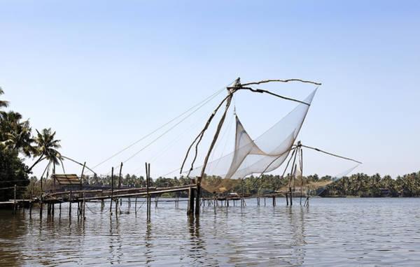 Bankside Photograph - Fishing Rods Kerala Backwaters by Kantilal Patel
