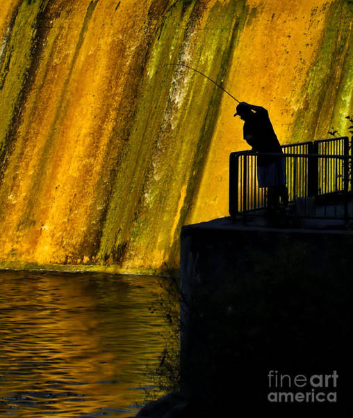 Photograph - Fishing The Dam by Terry Doyle