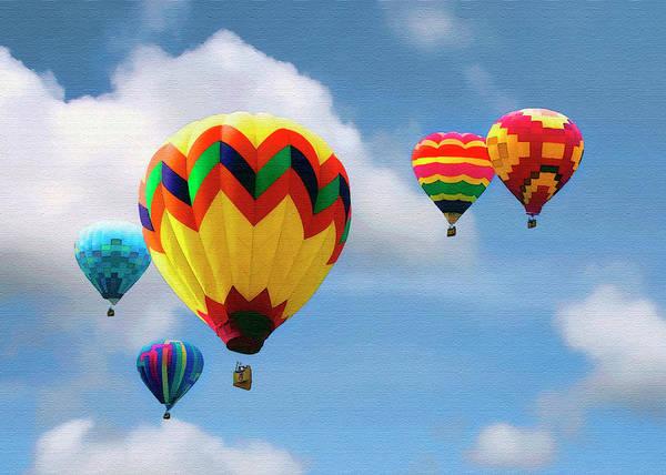 Balloon Festival Digital Art - Five Away by Sharon Foster