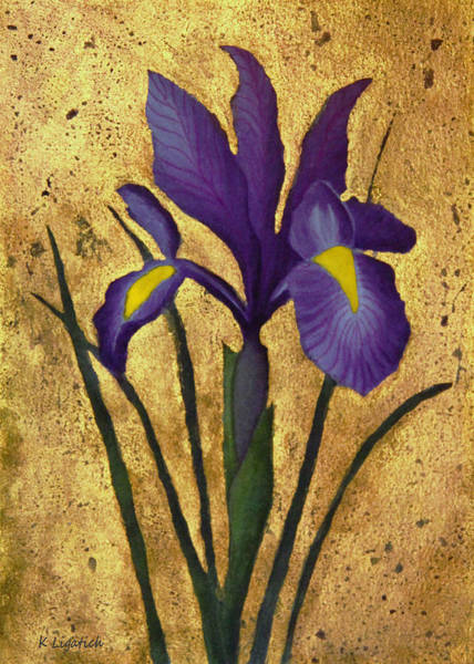Purple Iris Mixed Media - Flag Iris With Gold Leaf by Kerri Ligatich