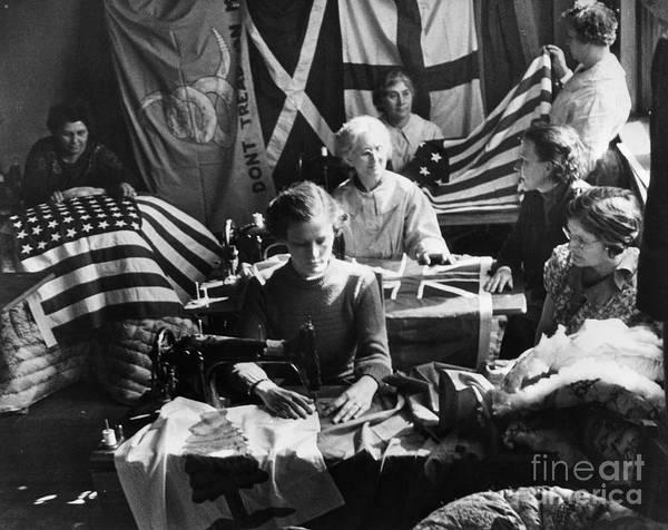 Photograph - Flag-making, C1938 by Granger