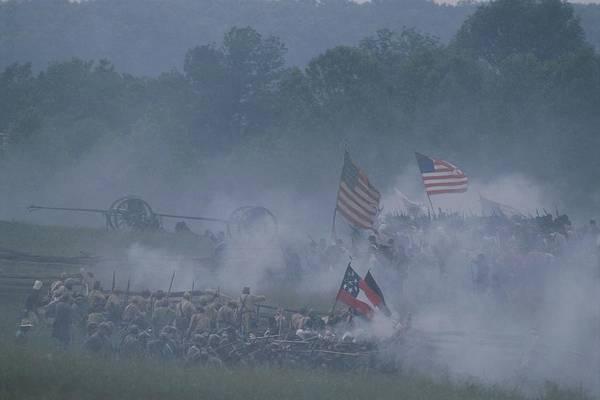 Gunfire Photograph - Flags, Soldiers, And Gun Smoke by Kenneth Garrett