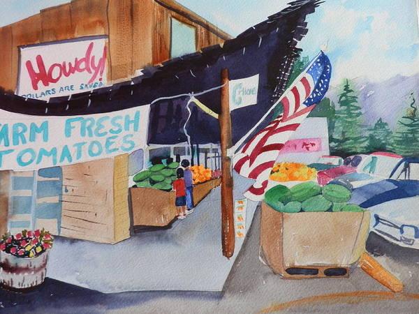 Flagstaff Painting - Flagstaff Farm Market by Jann Elwood