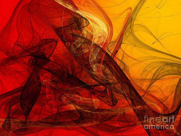 Pleasing Digital Art - Flaming Fractals On Red And Gold by Andee Design