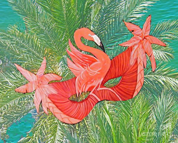 Mixed Media - Flamingo Mask 8 by Lizi Beard-Ward