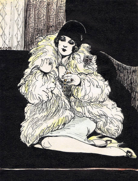 Fur Coat Drawing - Flapper by Mel Thompson