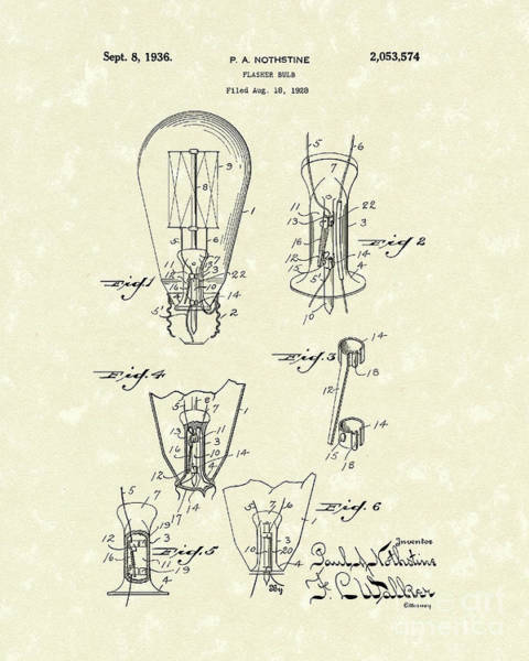 Bulb Drawing - Flasher Bulb 1936 Patent Art by Prior Art Design