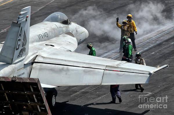 Photograph - Flight Deck Crew Position An Fa-18e by Giovanni Colla