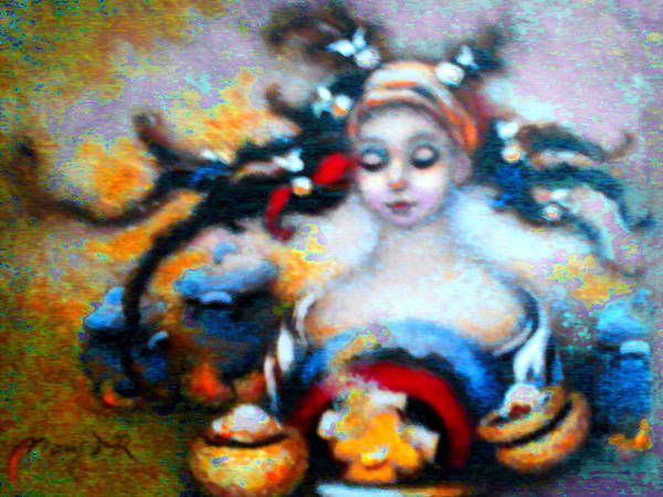 Pan Head Painting - Flora Mae Brightened by Mary J Russell