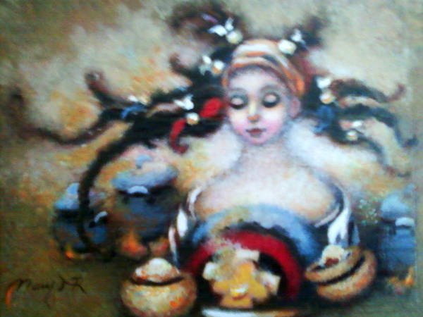 Pan Head Painting - Flora Mae by Mary J Russell