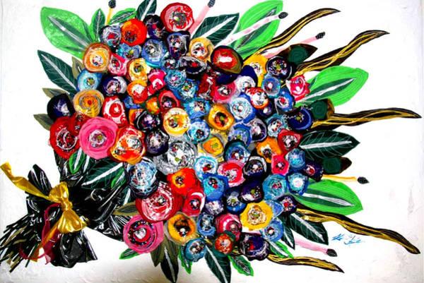 Wall Art - Tapestry - Textile - Floral Bouquet by Karen Elzinga