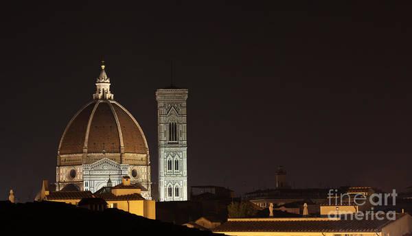 Florence Skyline At Night Art Print