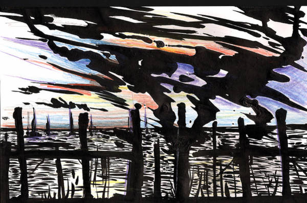 Painting - Florida Dock Sky Ink by John Jr Gholson