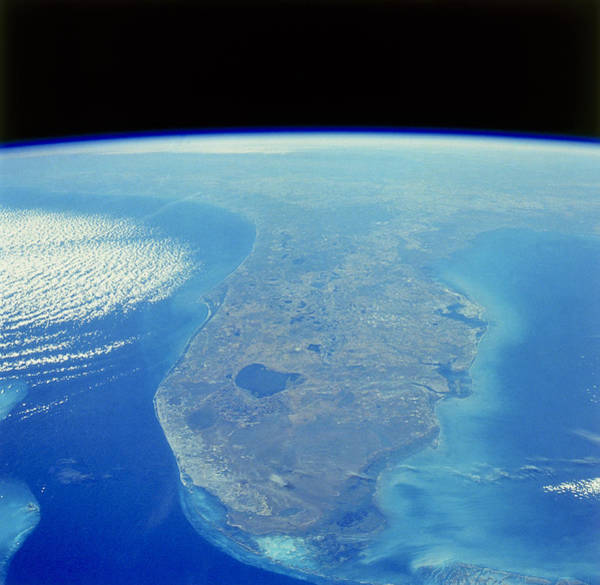 Lake Okeechobee Wall Art - Photograph - Florida Peninsula Seen From Space Shuttle by Nasa