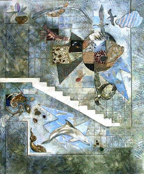 Wall Art - Mixed Media - Flounder. Esquisse For Kindergarten Interior. 1988 by Yuri Yudaev-Racei