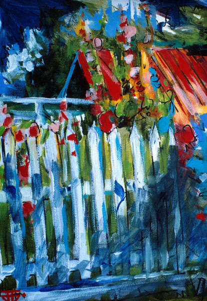 Painting - Flower Fence by John Jr Gholson