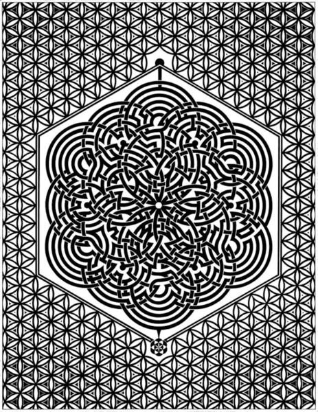 Sacred Geometry Drawing - Flower Of Life Labyrinth by Raul Castellar