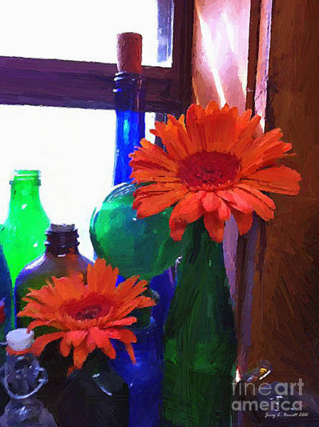 Mixed Media - Flowers And Jars by Jerry L Barrett