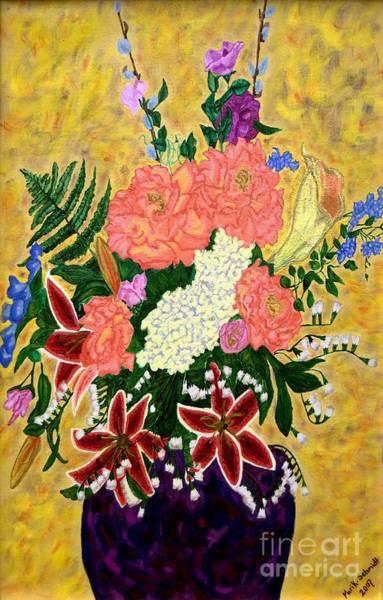 Snapdragons Painting - Flowers In A Purple Vase by Brenda Marik-schmidt