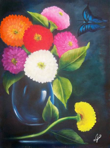 Painting - Flowers In Blue Vase by Joni McPherson
