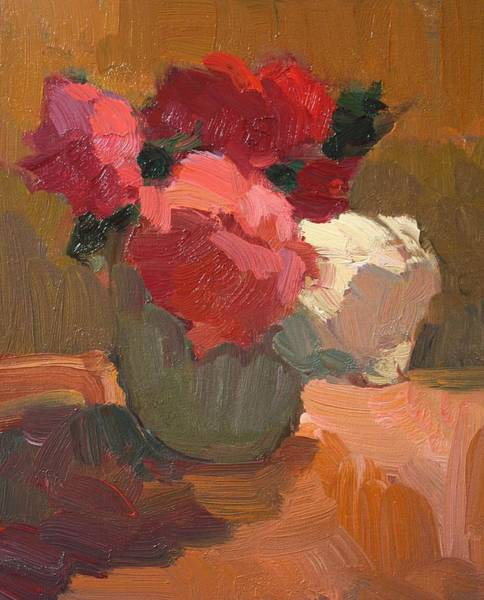 Wall Art - Painting - Flowers In Green Vase by Kathryn Townsend