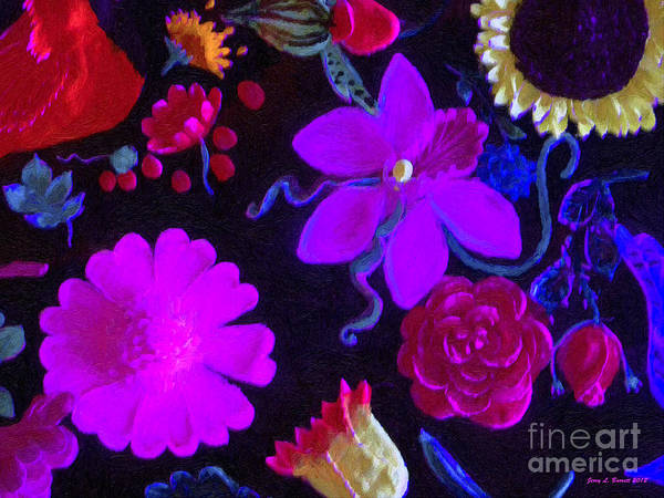 Mixed Media - Flowers On Black by Jerry L Barrett
