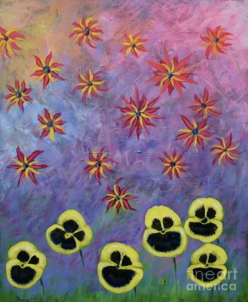 Painting - Flowers Singing by Monika Shepherdson